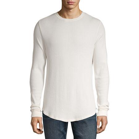 Arizona Mens Crew Neck Long Sleeve Thermal Top, X-large , White
