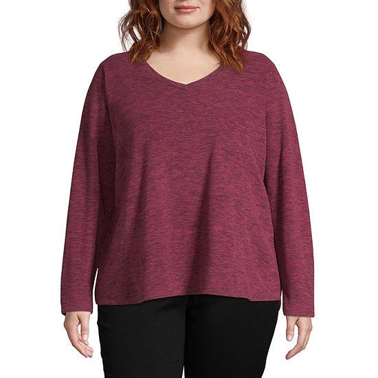 St. John's Bay Active Plus Womens V Neck Long Sleeve Sweatshirt