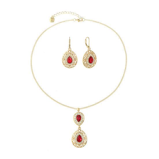 Monet Jewelry Red Gold Tone 2 Pc Jewelry Set