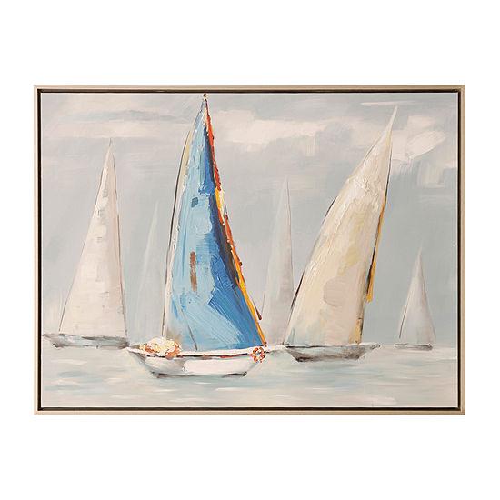 Stylecraft Blue Sail Nautica Wood Canvas Art