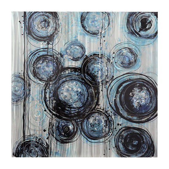 Stylecraft Circles Blue And Gray Aluminum Canvas Art