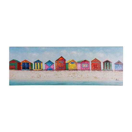 Stylecraft Beach House Band Blue Multicolor Wood Canvas Art