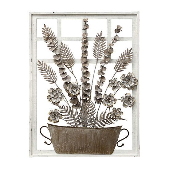 Stylecraft Antique Taupe And White Metal And Wood Wall Sculpture