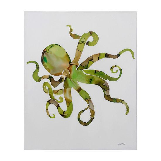 Stylecraft Octopus Green Wood Canvas Art