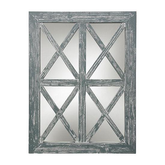 Stylecraft Gray Wash Wood And Glass Wall Mirror