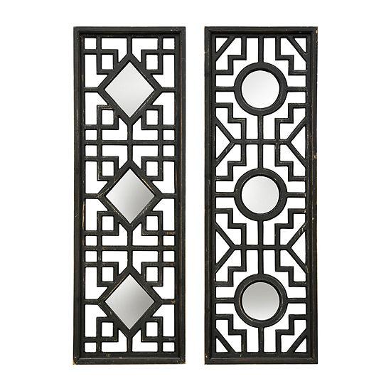 Stylecraft Rectangular Dark Gray Wood Set Of 2 2-pc. Wall Mirror