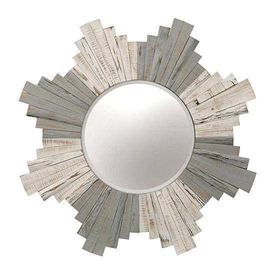 Stylecraft Star White-Washed Natural Wood Wall Mirror