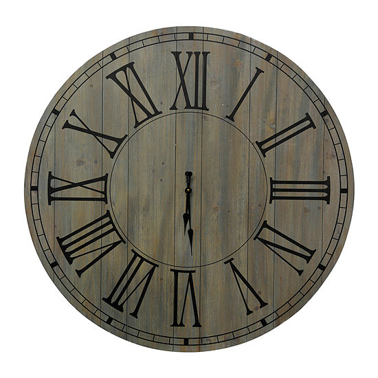 Stylecraft Roman Numeral Antique And Black Wood Wall Clock