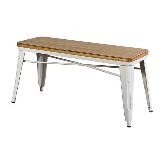 Stylecraft White Metal and Wood Benches