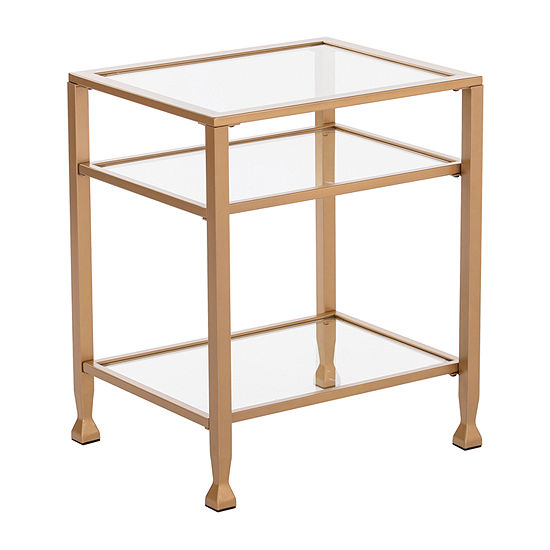 Brana Gold Metal and Glass End Table
