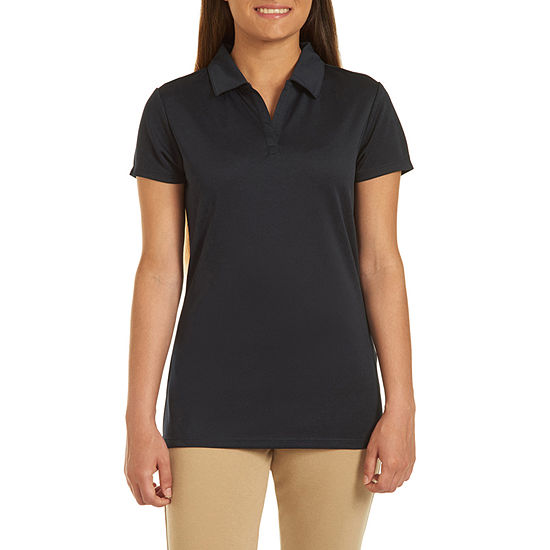 IZOD Womens Short Sleeve Knit Polo Shirt Juniors