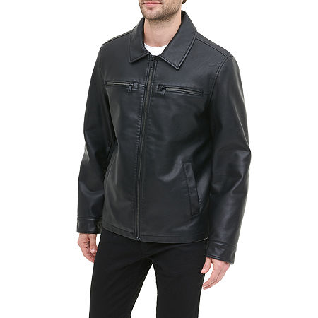 Dockers Faux Leather Open Bottom Jacket, X-large , Black