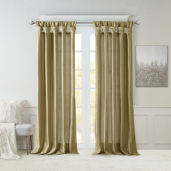 Madison Park Natalie Twisted Tab Light-Filtering Tab-Top Single Curtain Panel