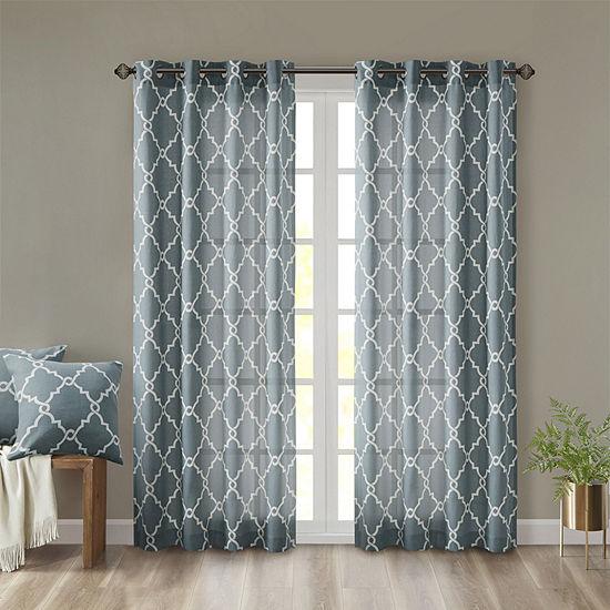 Madison Park Westmont Energy Saving Light-Filtering Grommet-Top Single Patio Door Curtain