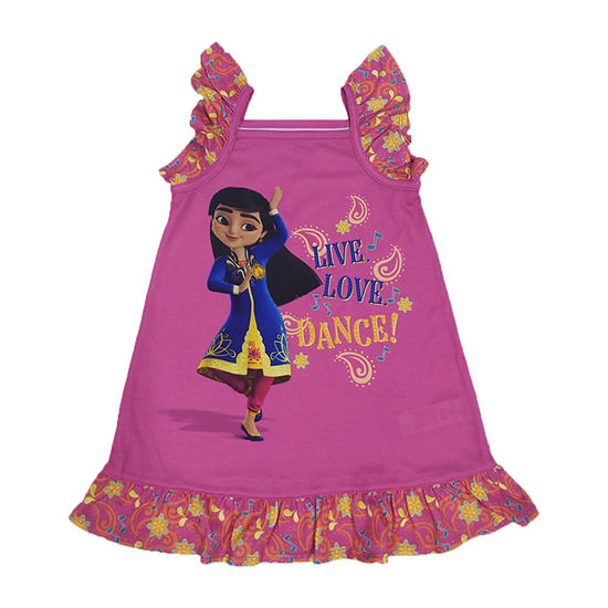 Disney Collection Mira Little & Big Girls Sleeveless Square Neck Nightshirt