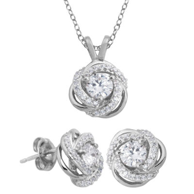 DiamonArt® Cubic Zirconia Love Knot Pendant Necklace & Earring Set
