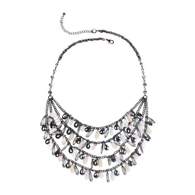 Mixit™ Gray-Tone Pink and Neutral 3-Row Shaky Necklace