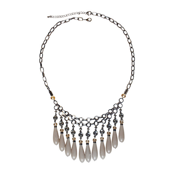 Mixit™ Gray-Tone Pink and Neutral Bead Drop Statement Necklace