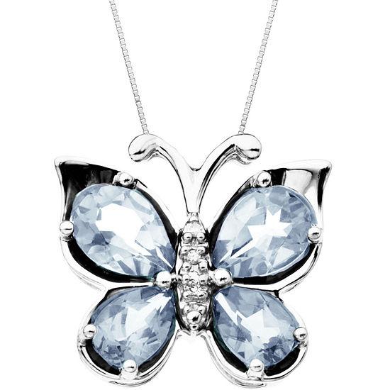 Aquamarine & Diamond-Accent Butterfly Pendant Necklace