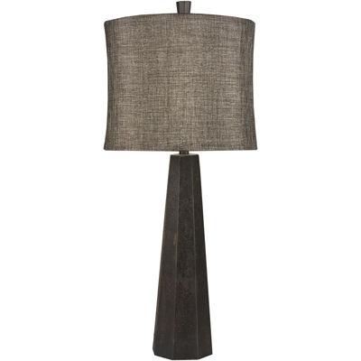 Surya® Aged Bronze Hexagonal Tower Lamp