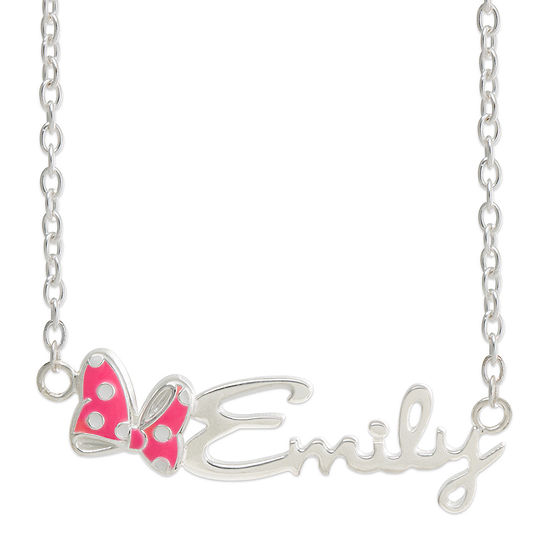 Disney Personalized Minnie Mouse Sterling Silver & Enamel Name Necklace