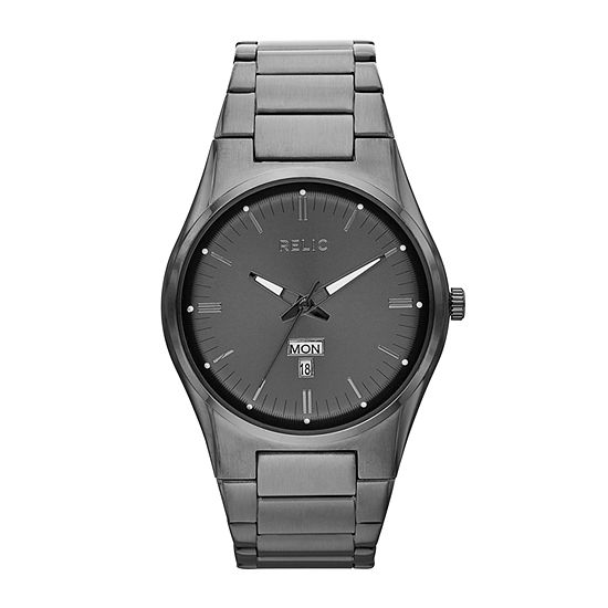 Relic By Fossil Sheldon Mens Gray Stainless Steel Bracelet Watch-Zr12124
