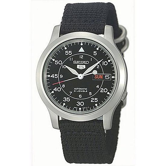 Seiko Mens Black Strap Watch-Snk809