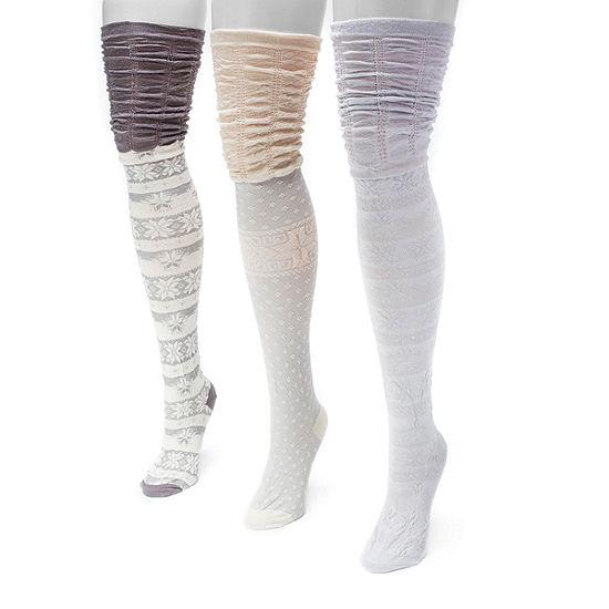 Muk Luks 3 Pair Over the Knee Socks - Womens