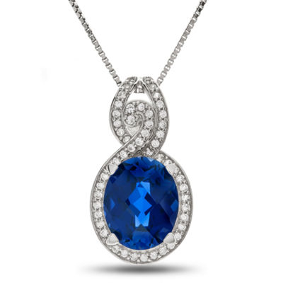 Lab Created Blue & White Sapphire Sterling Silver Pendant Necklace