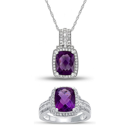 Genuine Amethyst & Lab Created White Sapphire Sterling Silver 2-pc Jewelry Set