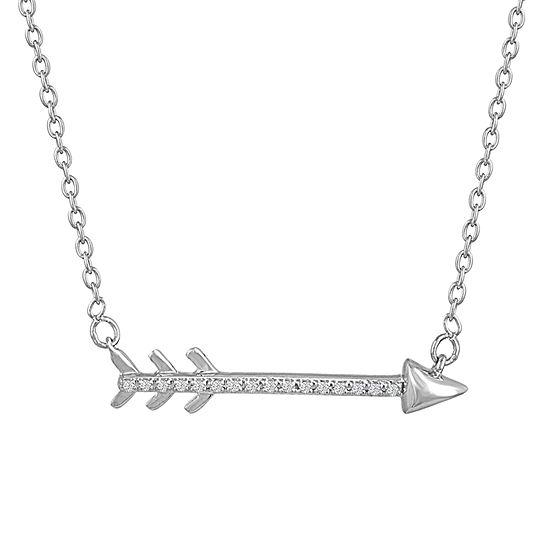 Women's Genuine Diamond Accent Sterling Silver Arrow Pendant Necklace