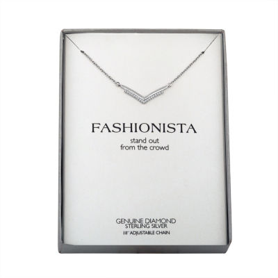 Womens Diamond Accent Sterling Silver Pendant Necklace