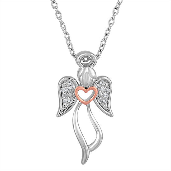"""Angel"" Womens Diamond Accent Genuine White Diamond Sterling Silver Angel Pendant Necklace"