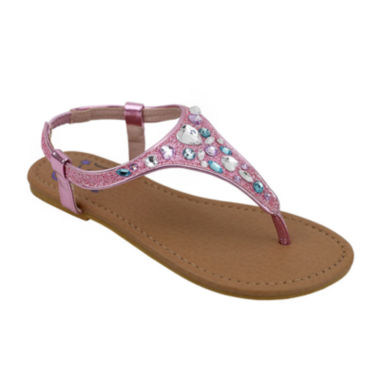 OMGirl Felicity Multicolor Rhinestone Girls Elastic-Strap Sandals - Little Kids