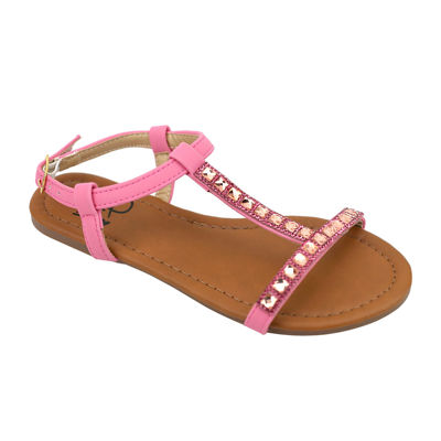 OMGirl Rezina Rhinestone Slide Buckle-Strap Girls Sandals - Little Kids
