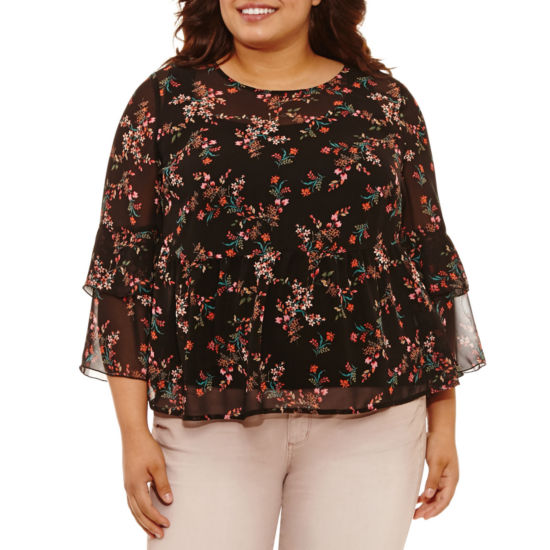 Arizona Sheer Ruffle Top- Juniors Plus