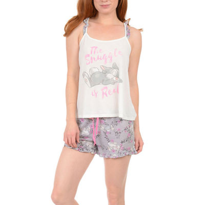 Disney Womens-Juniors Shorts Pajama Set 2-pc. Sleeveless
