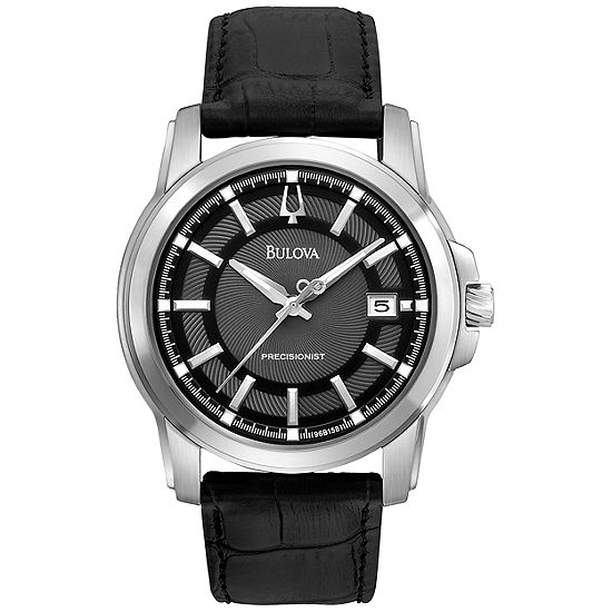 Bulova Mens Black Leather Strap Watch-96b158