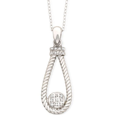 Diamond Fascination™ Teardrop Pendant Sterling Necklace