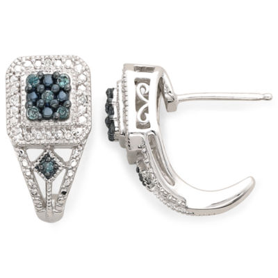 1/10 CT. T.W. White & Color-Enhanced Blue Diamond Earrings
