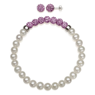 Cultured Freshwater Pearl & Lavender Lab Created Crystal Bead Sterling Silver Jewelry Set