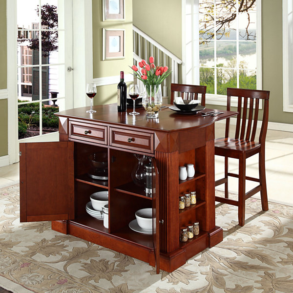Amberly Drop Leaf Kitchen Island with 2 School House Stools