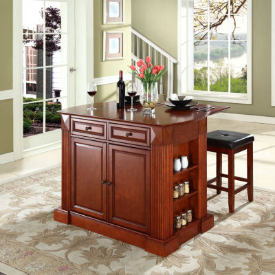 Elegant Amberly Drop Leaf Kitchen Island With 2 Upholstered Stools