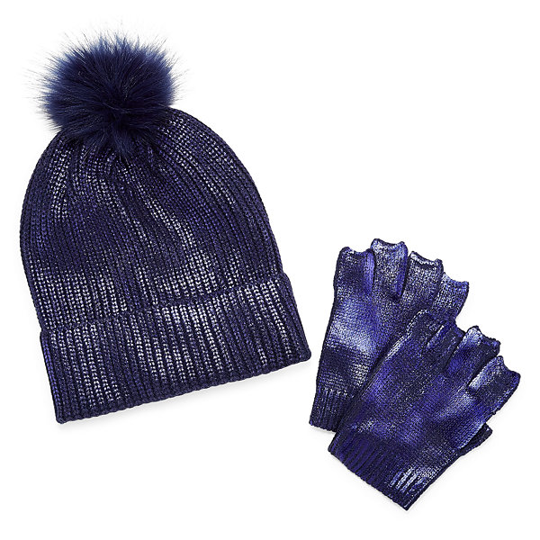 Mixit Pom Beanie And Fingerless Glove 2-pc. Foiled Cold Weather Set