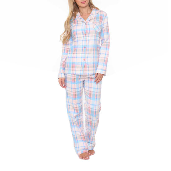 White Mark Flannel Womens Pant Pajama Set 2-pc.