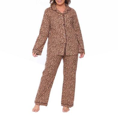 White Mark Flannel 2-pack Animal Pant Pajama Set-Plus