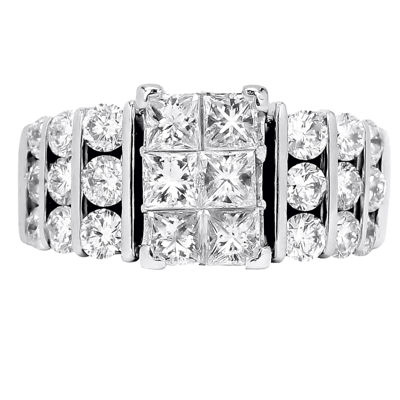 3 CT. T.W. Diamond 14K White Gold Tiered Engagement Ring