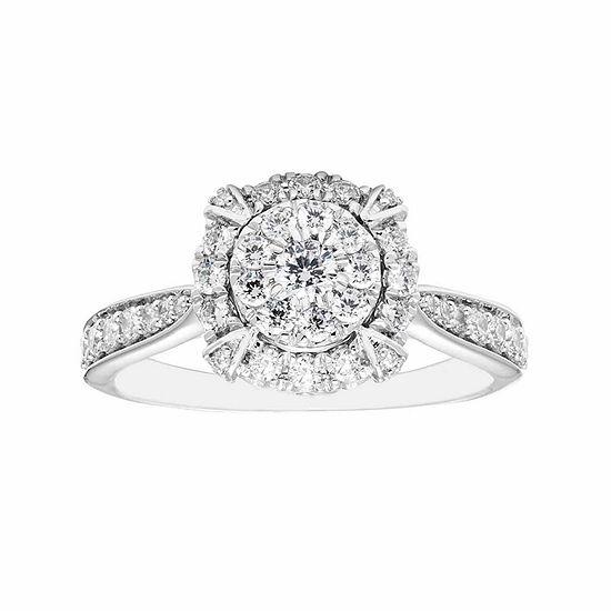 Enchanted Disney Fine Jewelry Womens 3/4 CT. T.W. Genuine Diamond 14K Gold Engagement Ring