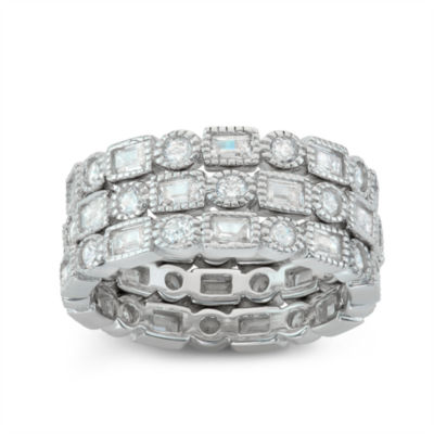 Diamonart Womens 4 CT. T.W. Lab Created White Cubic Zirconia Sterling Silver Stackable Ring