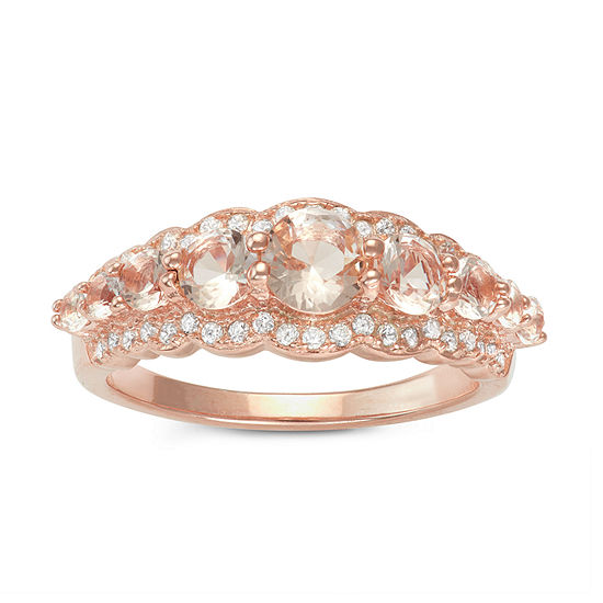Diamonart Womens 2 CT. T.W. Pink Cubic Zirconia 14K Gold Over Silver Cocktail Ring